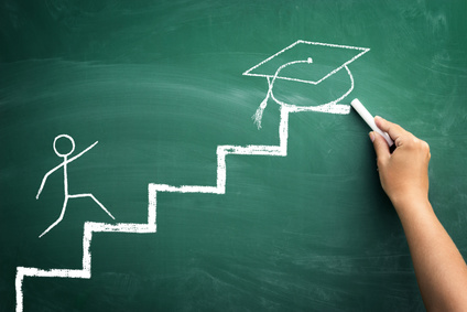 hand drawing student climbing the stairs to arrive at the graduation, gain his success